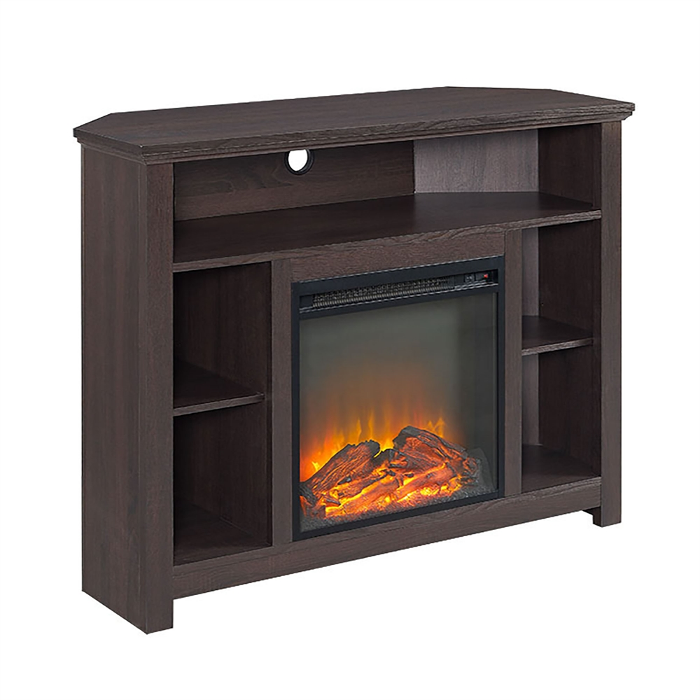 44 Wood Corner Highboy Fireplace Tv Stand Espresso