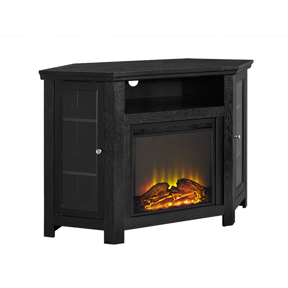 48 quot corner fireplace tv stand black