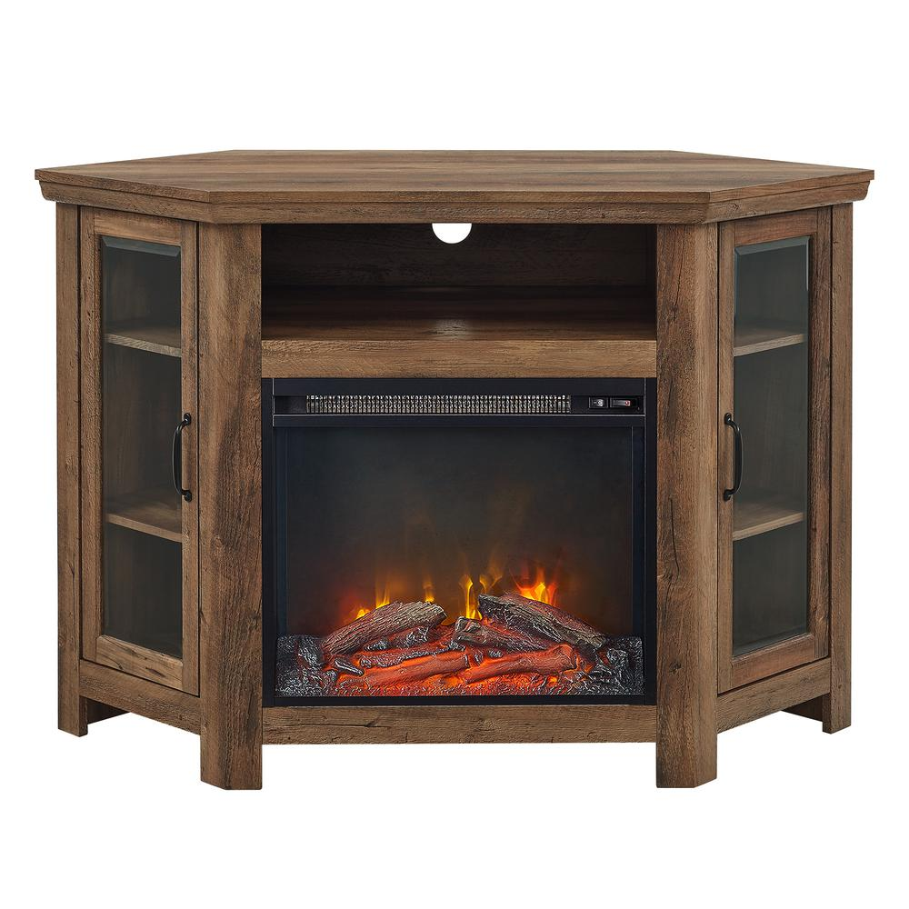 48 Quot Wood Corner Fireplace Media Tv Stand Console Rustic Oak