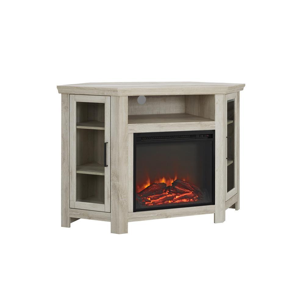 48 Quot Wood Corner Fireplace Media Tv Stand Console White Oak