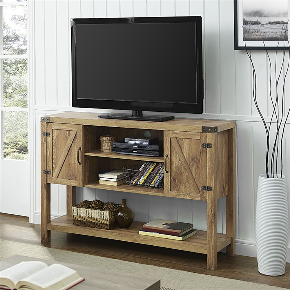 52 barn door buffet table console tv stand barnwood. Black Bedroom Furniture Sets. Home Design Ideas