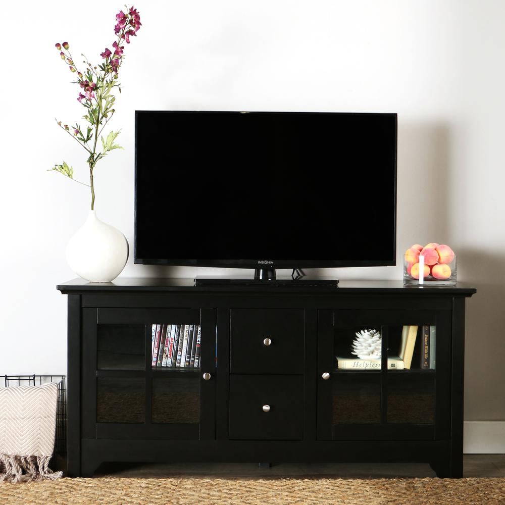 """52"""" Black Wood TV Stand Console. Picture 2"""