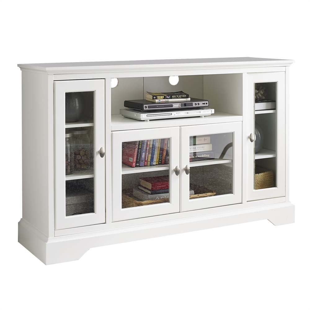 52 highboy style wood tv stand white White tv console