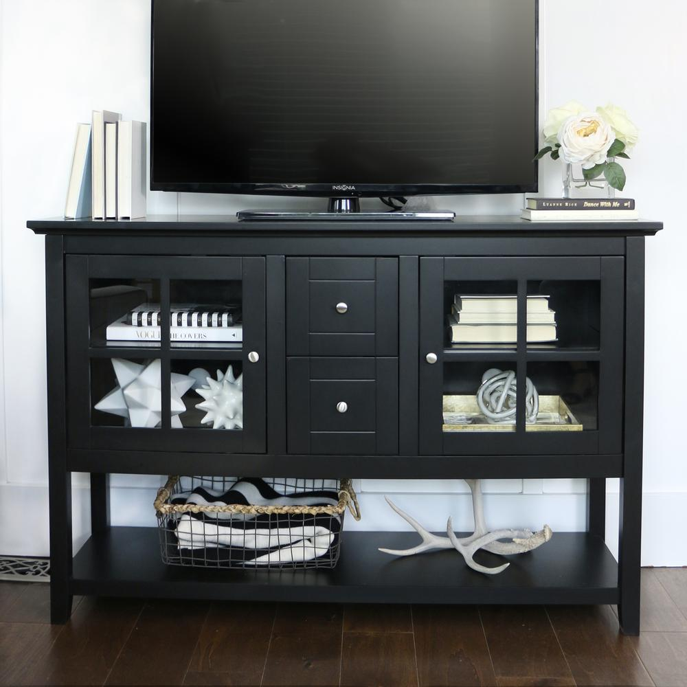 "52"" Black Wood Console Table TV Stand. Picture 2"