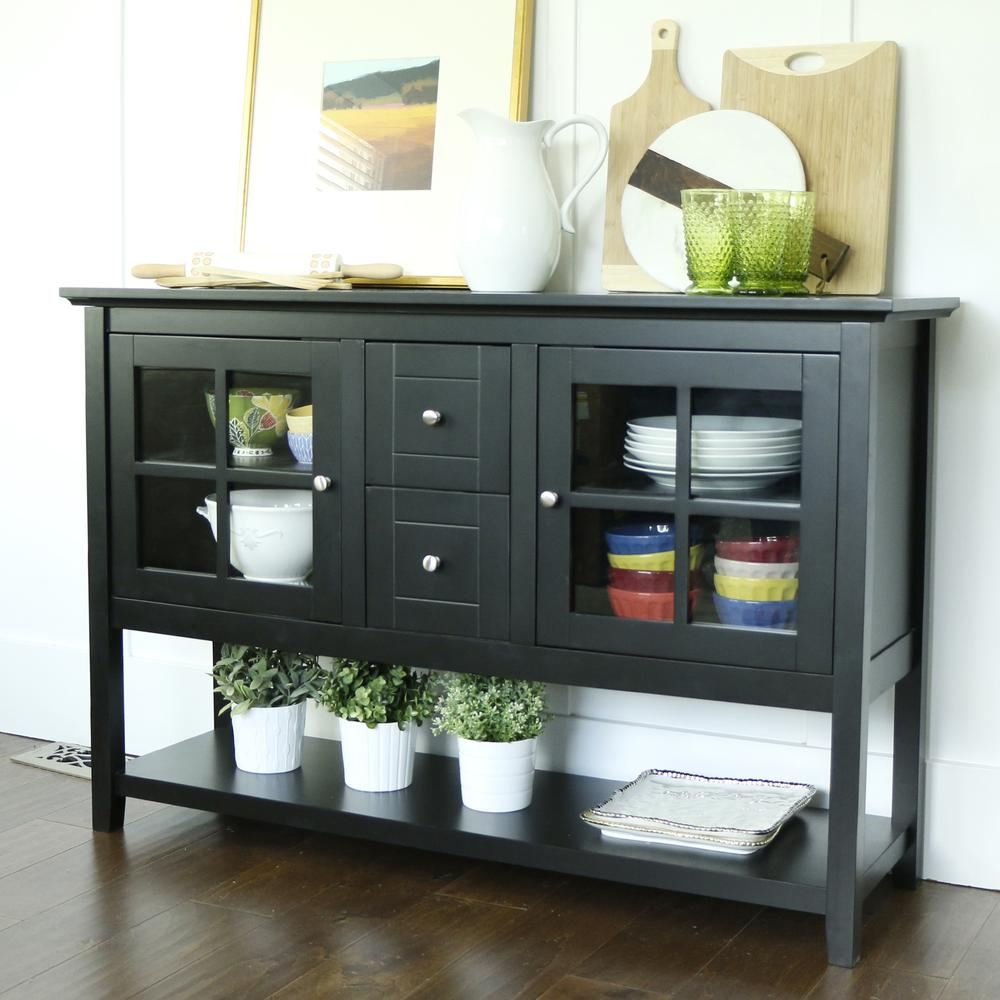 "52"" Black Wood Console Table TV Stand. Picture 1"
