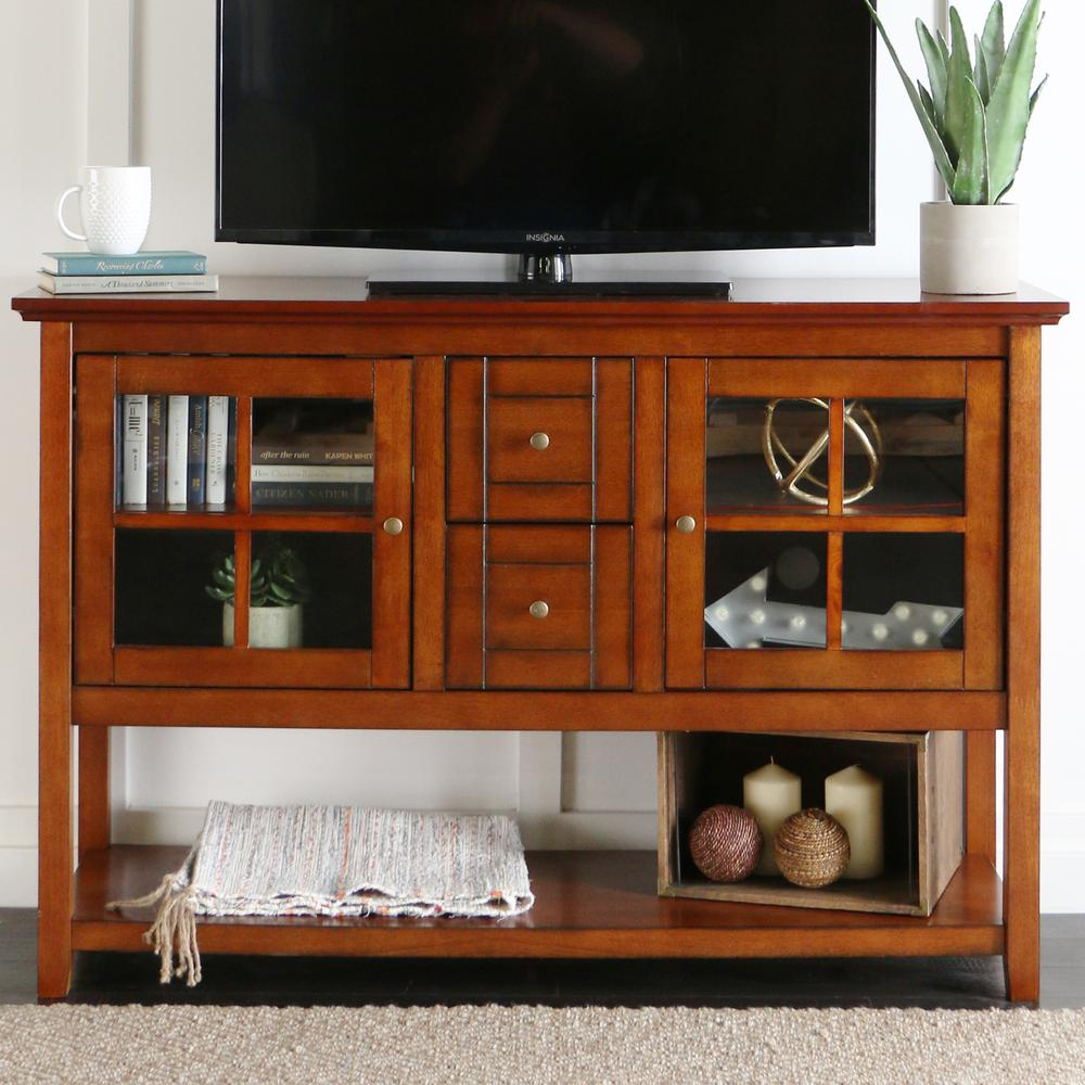 "52"" Wood Console Table TV Stand - Rustic Brown. Picture 2"