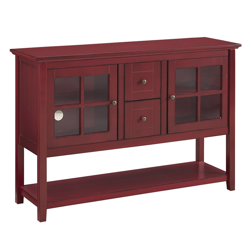 52 wood console table tv stand antique red. Black Bedroom Furniture Sets. Home Design Ideas