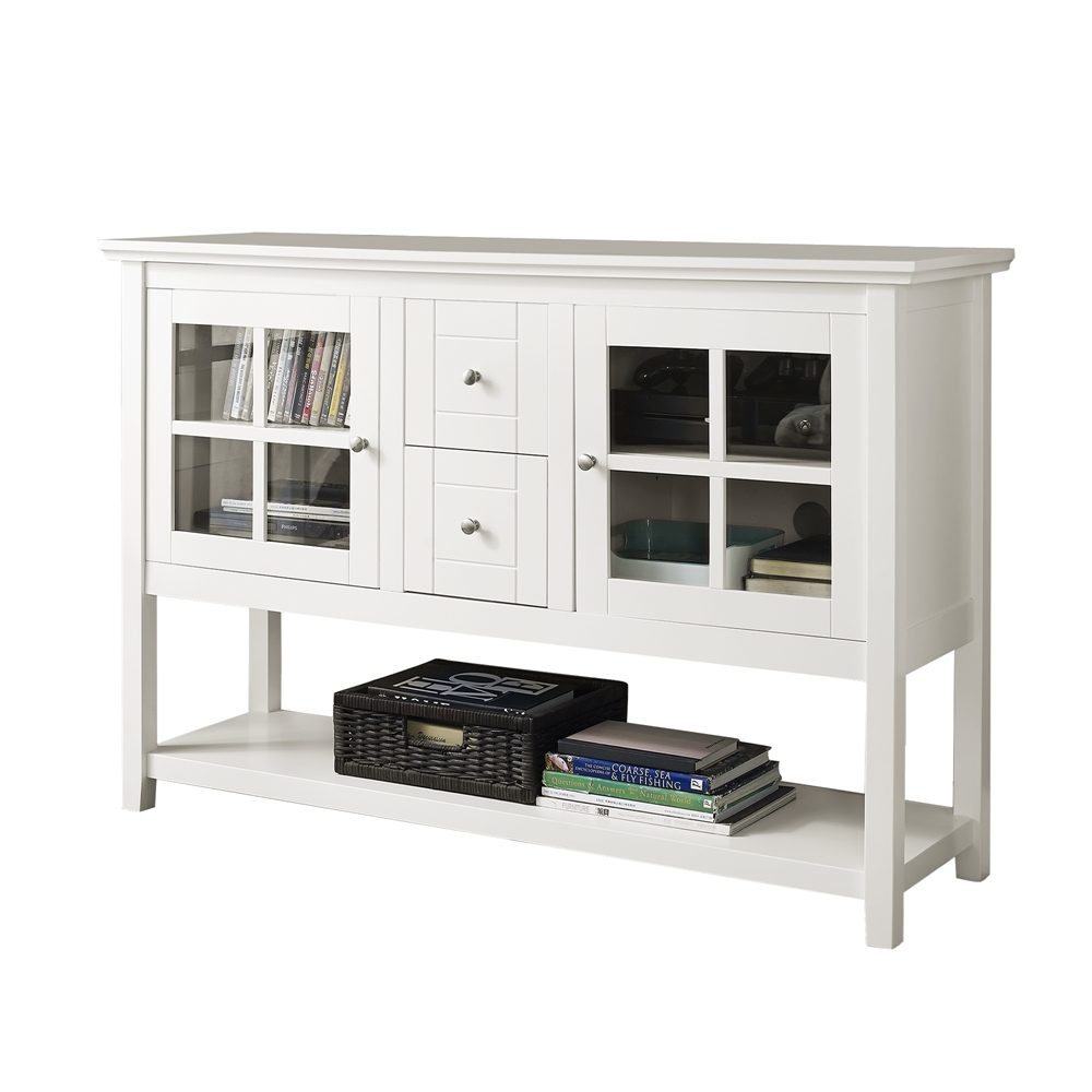 52 wood console table tv stand white. Black Bedroom Furniture Sets. Home Design Ideas