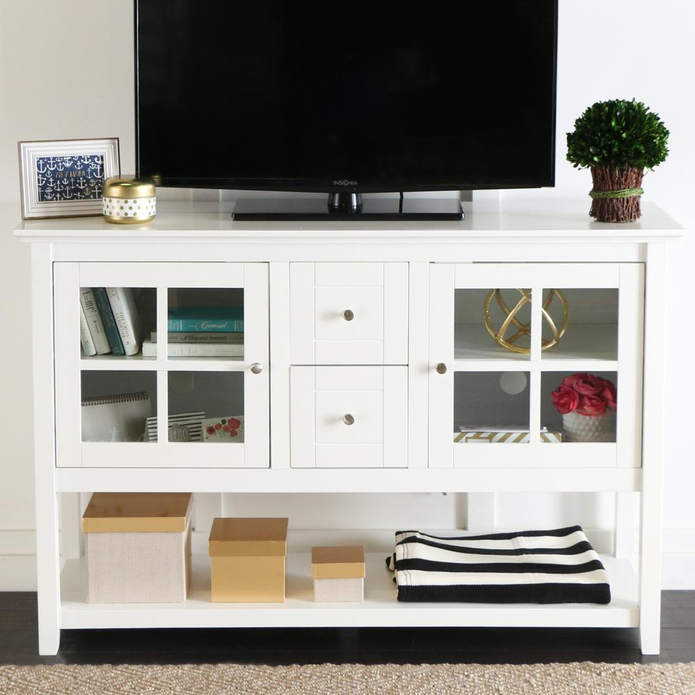 "52"" Wood Console Table TV Stand - White. Picture 2"