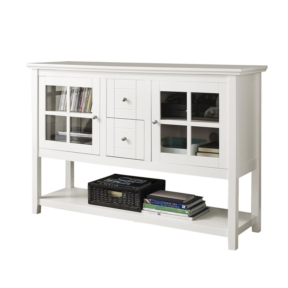 "52"" Wood Console Table TV Stand - White. Picture 3"