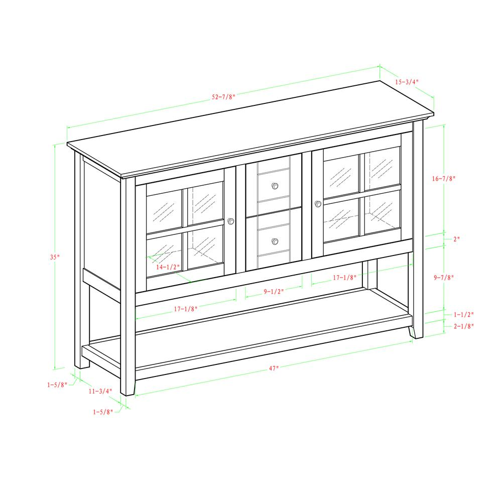 "52"" Wood Console Table TV Stand - White. Picture 4"