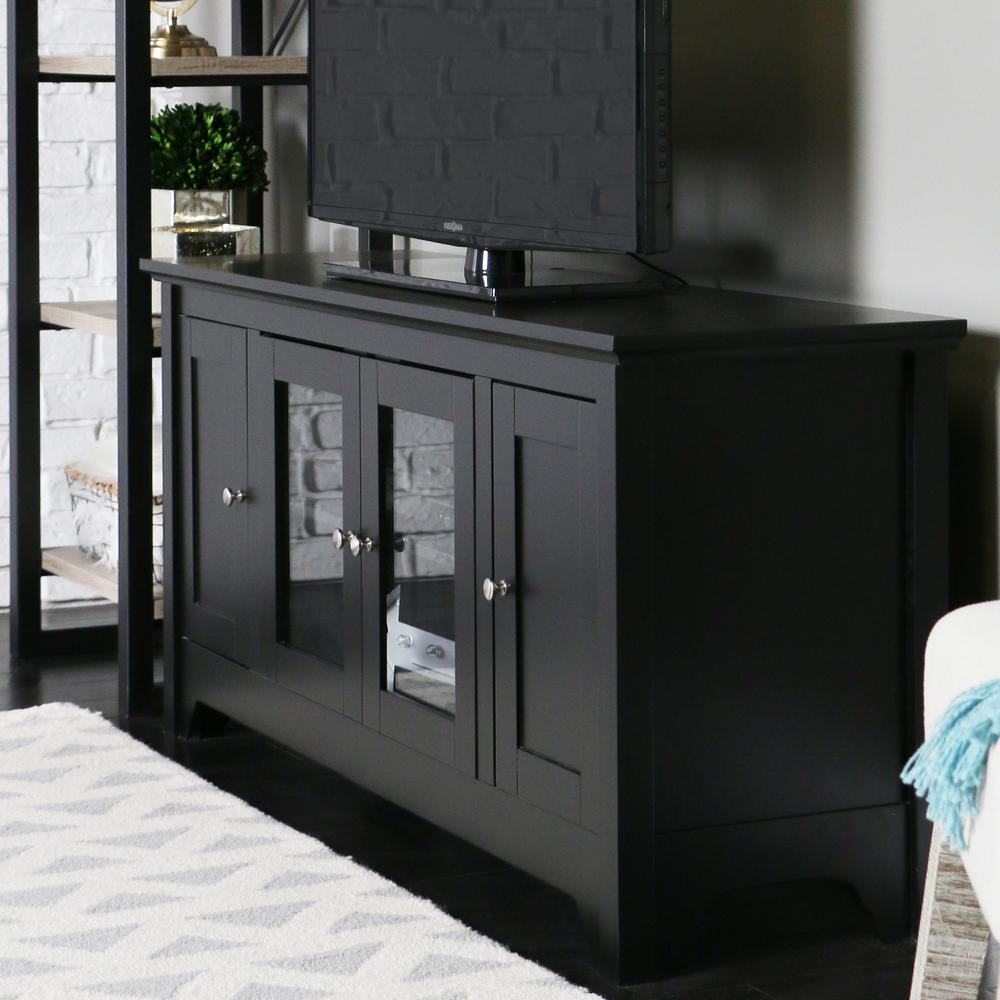 """52"""" Black Wood TV Stand Console. Picture 1"""