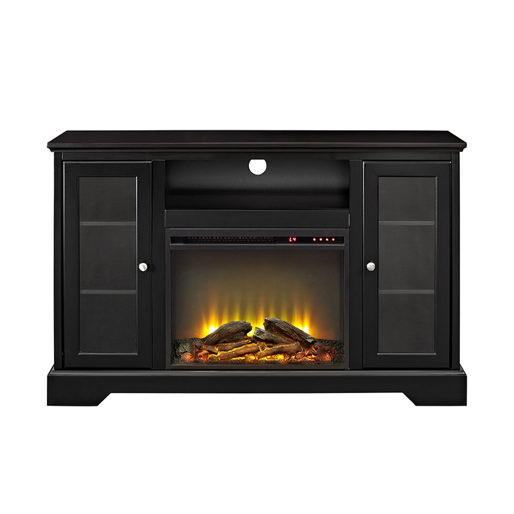 52 Quot Highboy Fireplace Wood Tv Stand Console Black