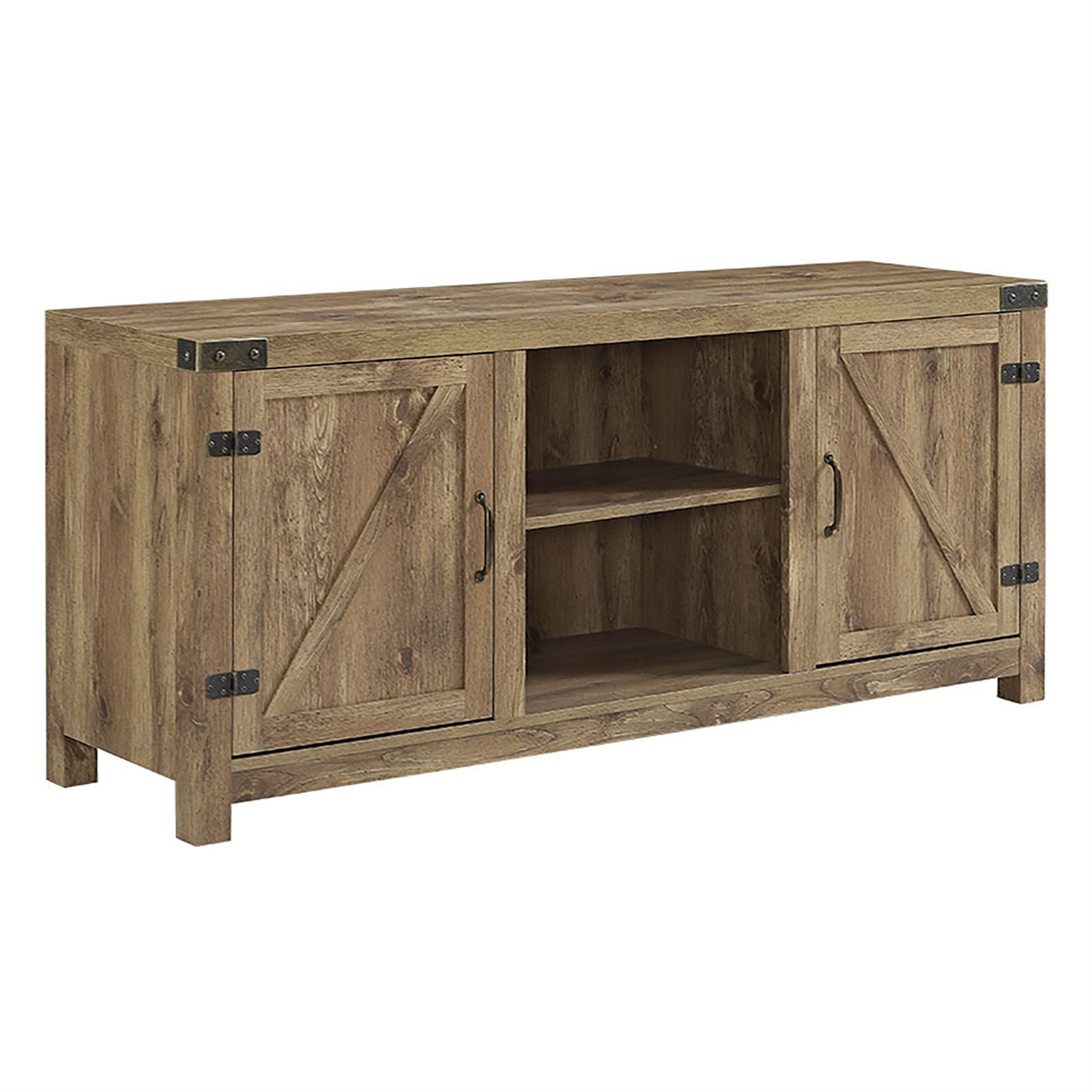 58 barn door tv stand with side doors barnwood for Meuble audio en bois