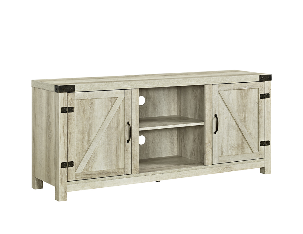 58 barn door tv stand with side doors white oak. Black Bedroom Furniture Sets. Home Design Ideas