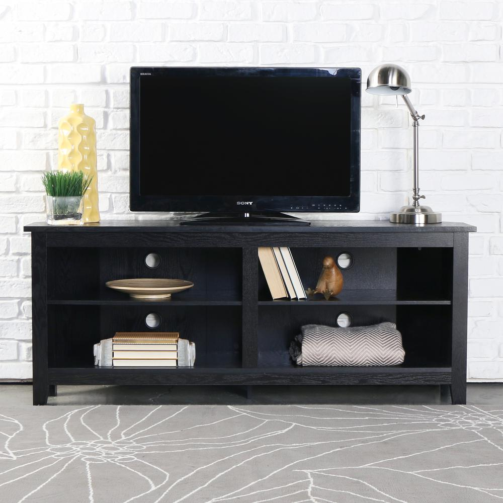 "58"" Wood Corner TV Console - Black. Picture 2"
