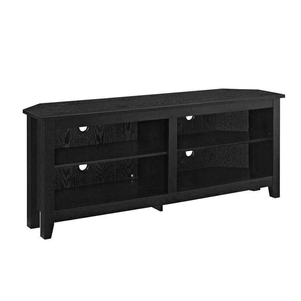 "58"" Wood Corner TV Console - Black. Picture 3"