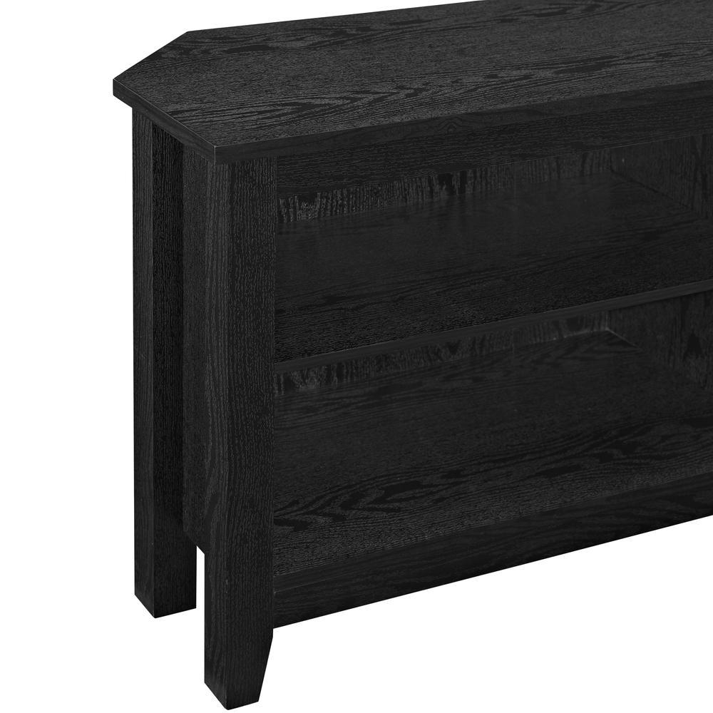 "58"" Wood Corner TV Console - Black. Picture 4"