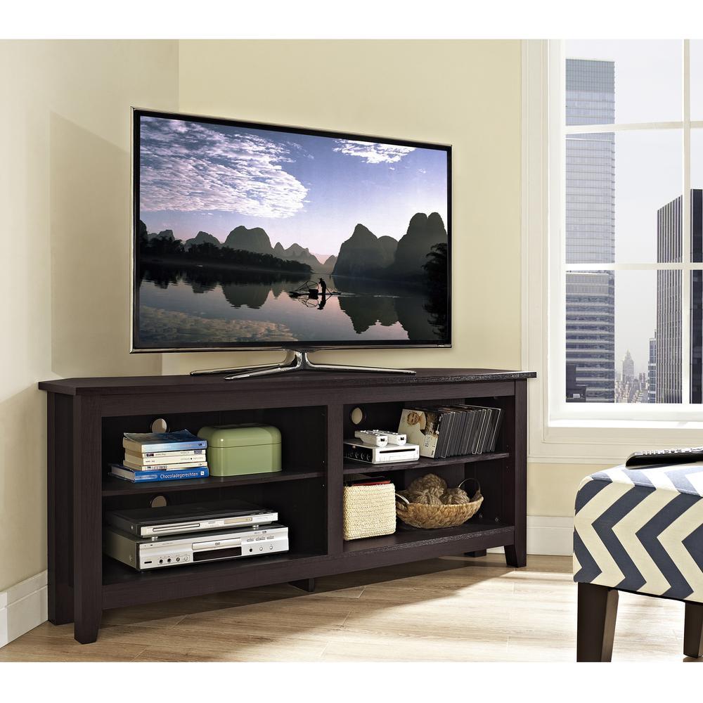 """58"""" Wood Corner TV Console - Espresso. Picture 2"""