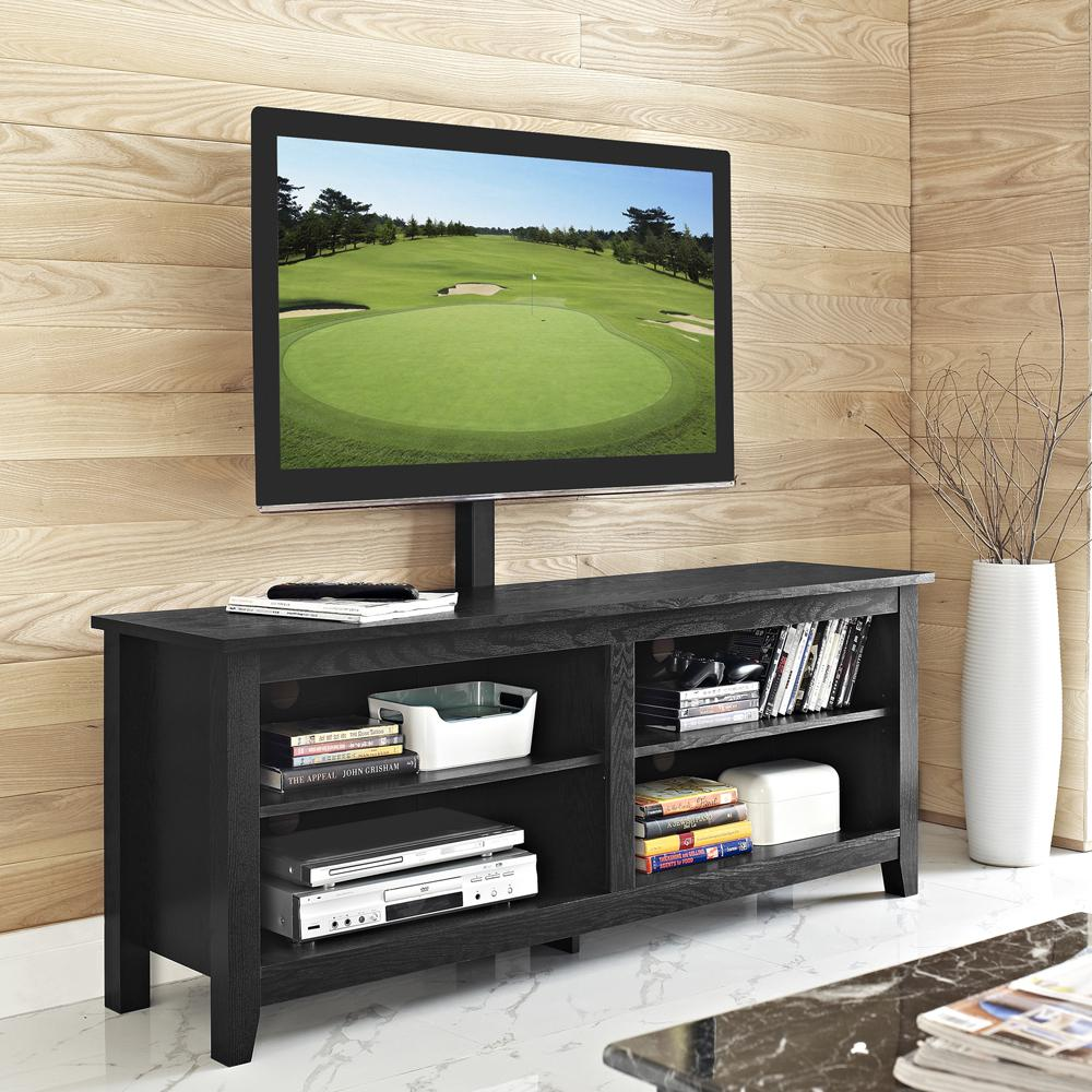 "58"" Black Wood TV Stand Console. Picture 2"