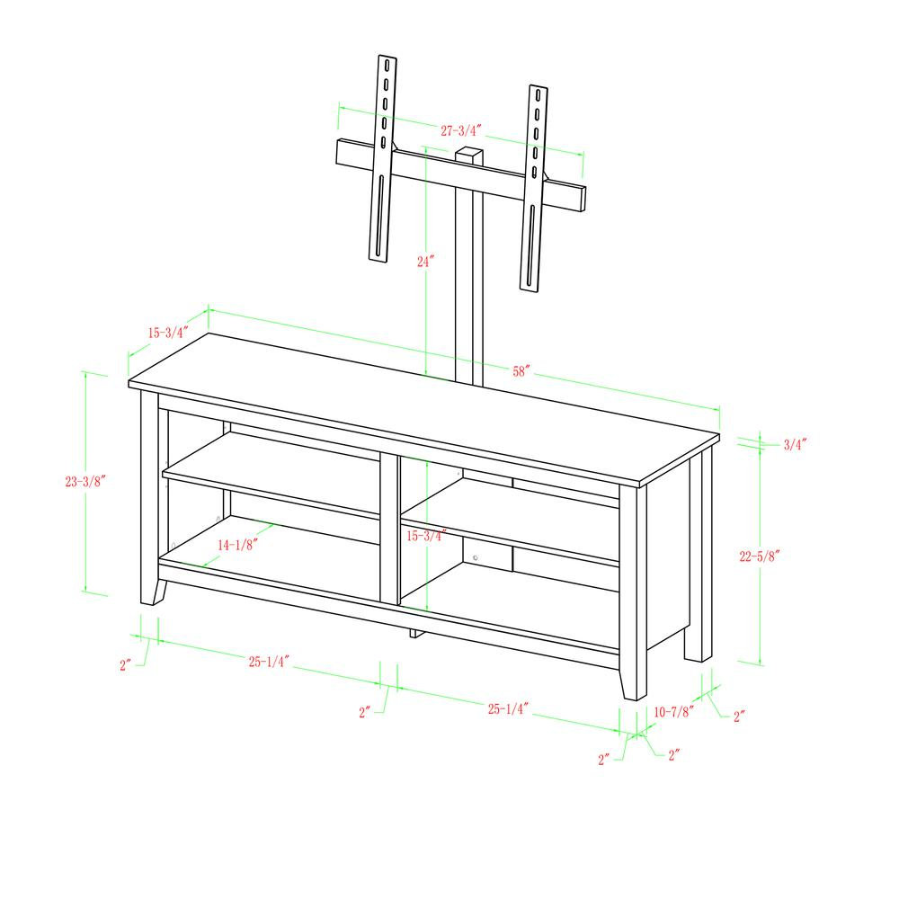 "58"" Black Wood TV Stand Console. Picture 6"