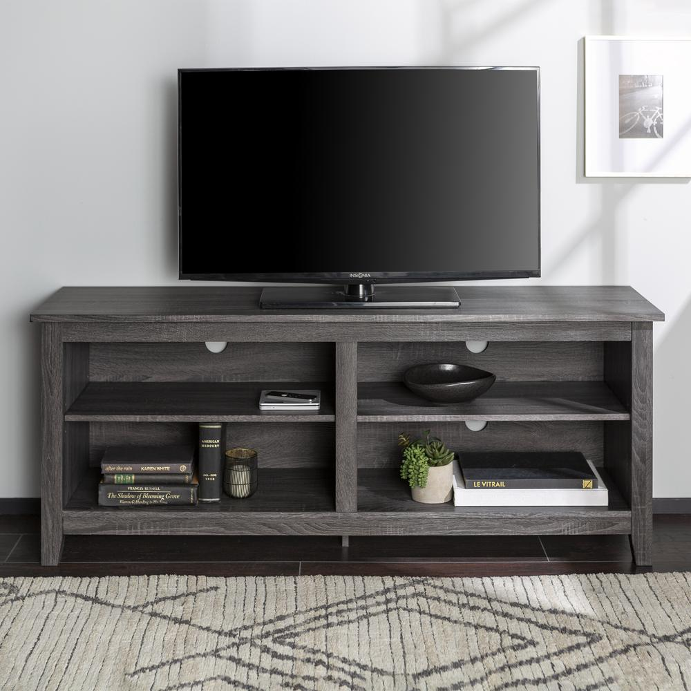 """58"""" Charcoal Grey Wood TV Stand Console. Picture 2"""