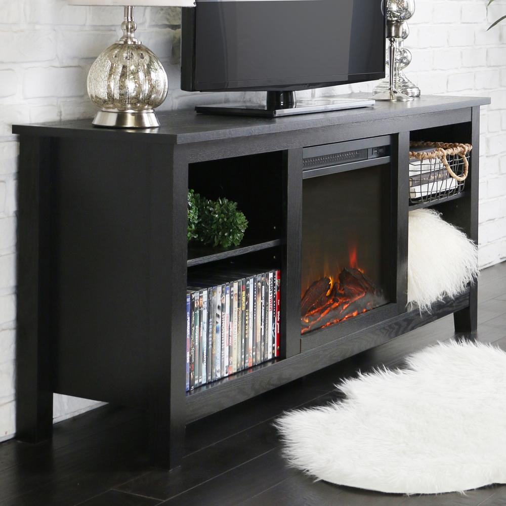 "58"" Black Wood TV Stand w/Fireplace Insert. Picture 1"