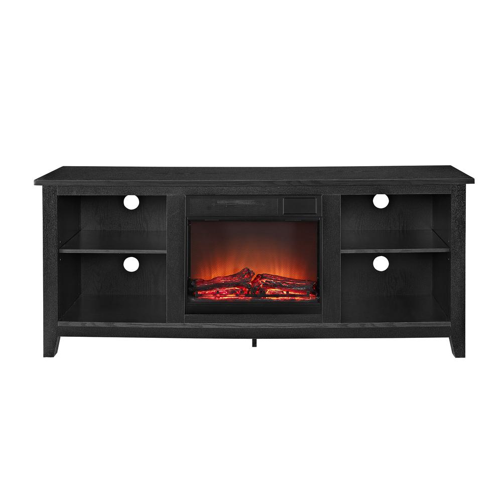 "58"" Black Wood TV Stand w/Fireplace Insert. Picture 4"