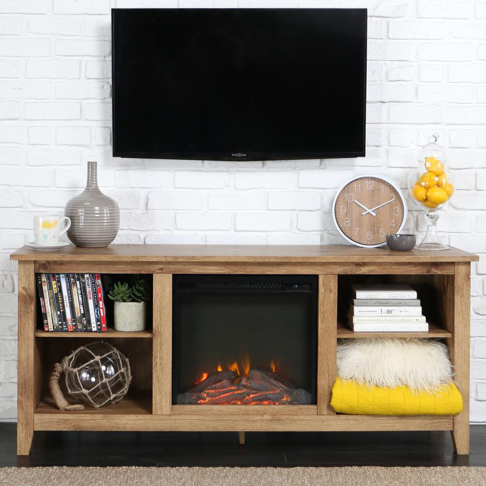 """58"""" Barnwood TV Stand with Fireplace Insert. Picture 2"""