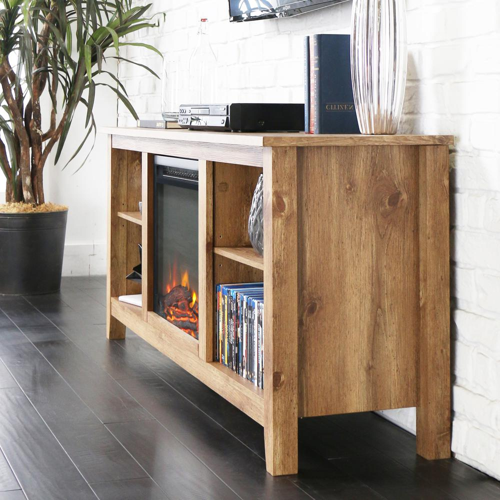 """58"""" Barnwood TV Stand with Fireplace Insert. Picture 1"""
