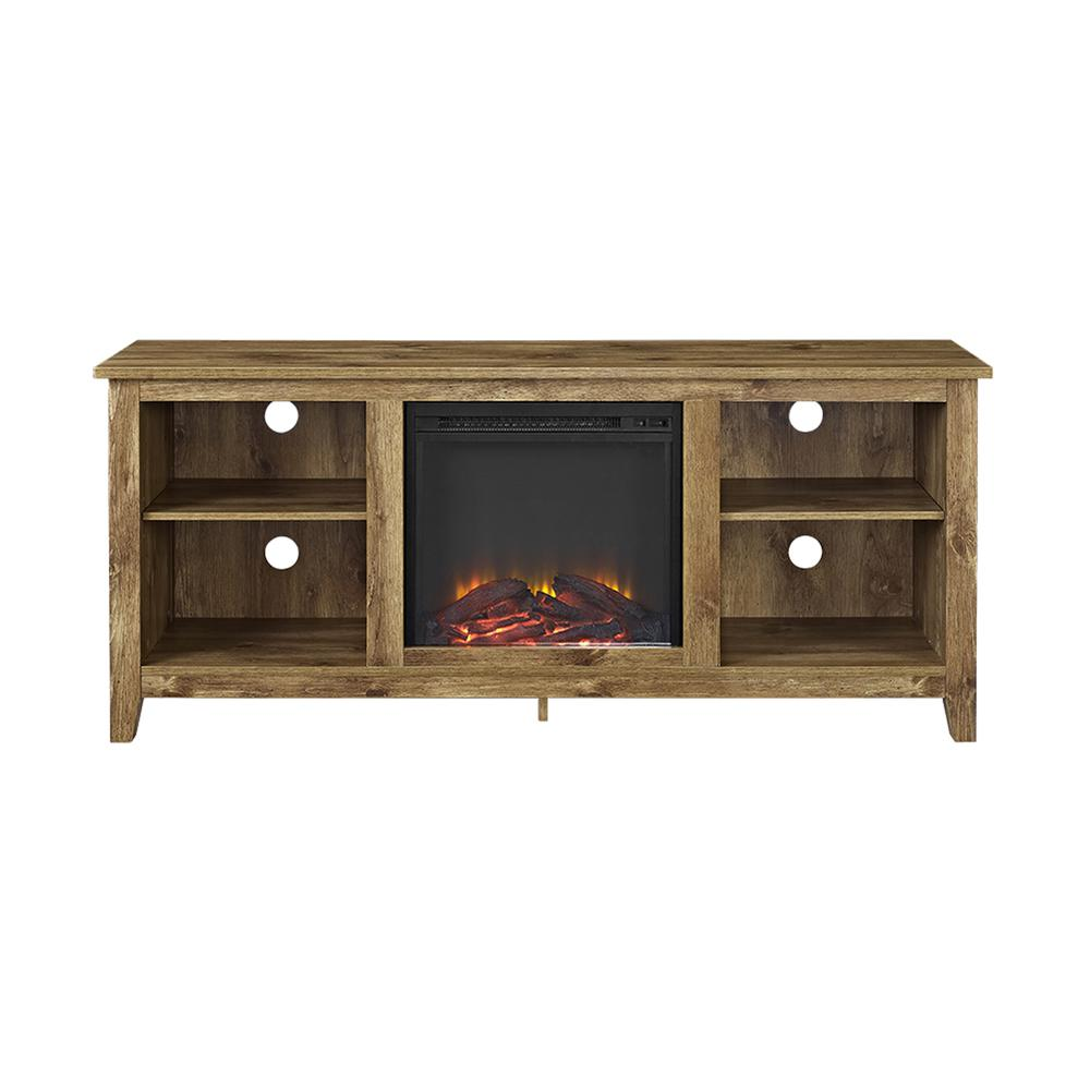 """58"""" Barnwood TV Stand with Fireplace Insert. Picture 3"""