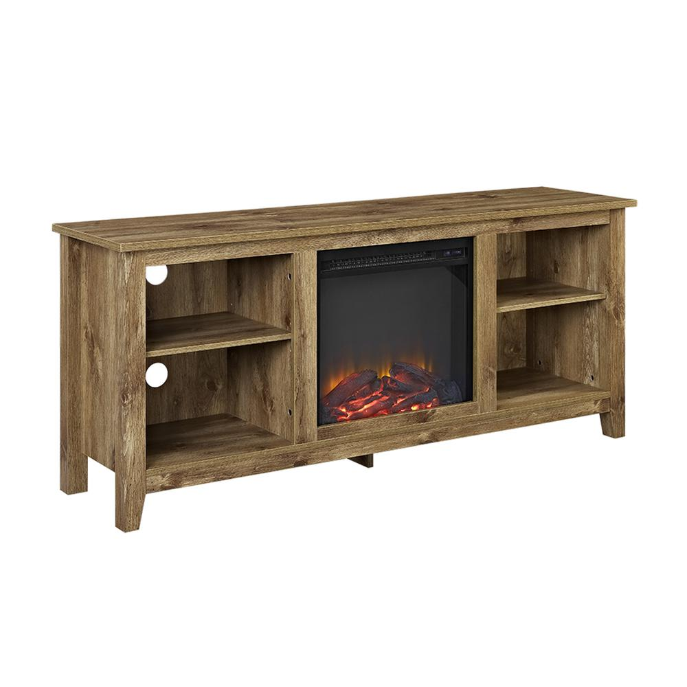 """58"""" Barnwood TV Stand with Fireplace Insert. Picture 4"""