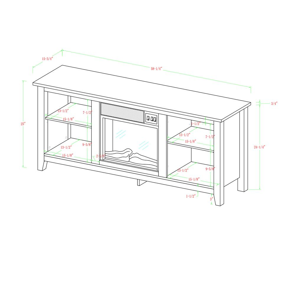 """58"""" Barnwood TV Stand with Fireplace Insert. Picture 5"""