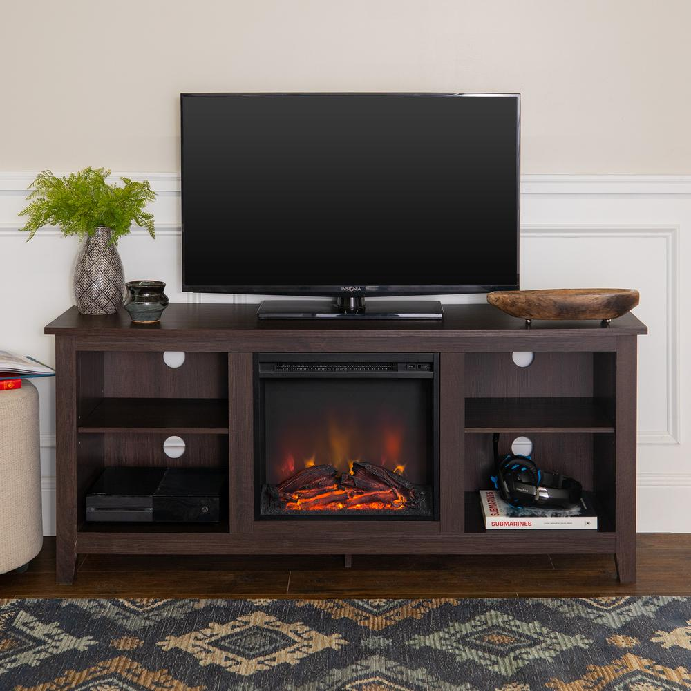 "58"" Espresso Wood TV Stand w/Fireplace Insert. Picture 2"