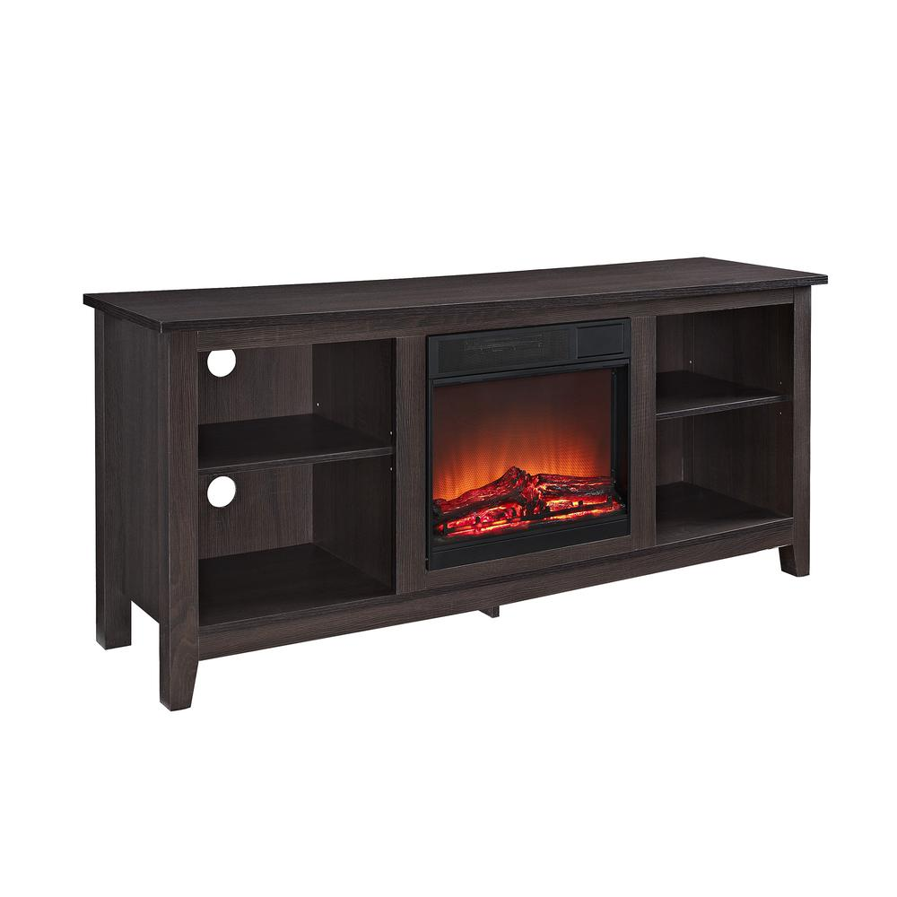 "58"" Espresso Wood TV Stand w/Fireplace Insert. Picture 1"