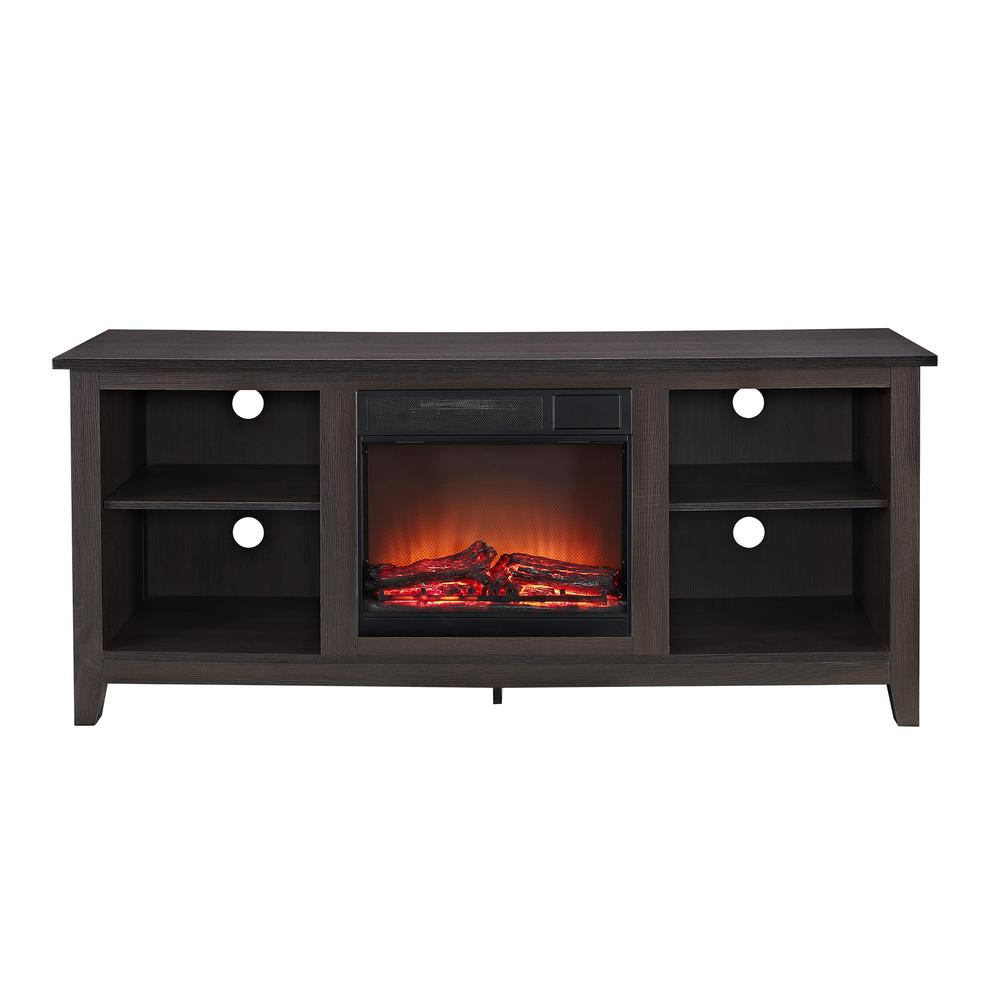 "58"" Espresso Wood TV Stand w/Fireplace Insert. Picture 3"