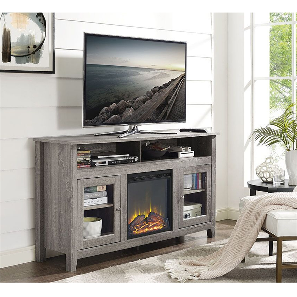 58 Wood Highboy Fireplace Tv Stand Driftwood