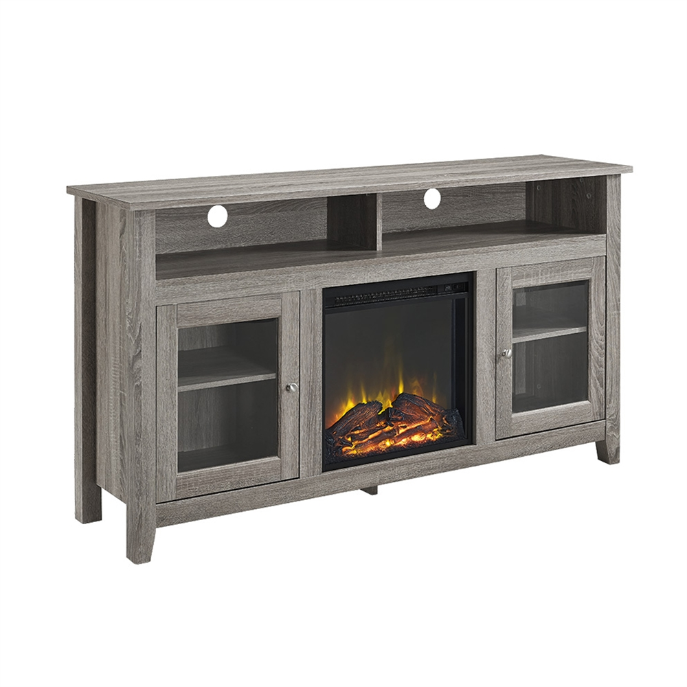 58 u0026quot  wood highboy fireplace tv stand