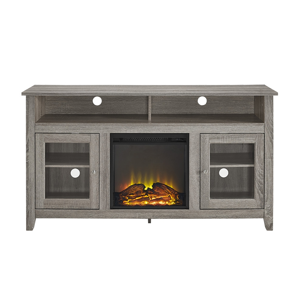 "58"" Wood Highboy Fireplace TV Stand - Driftwood"