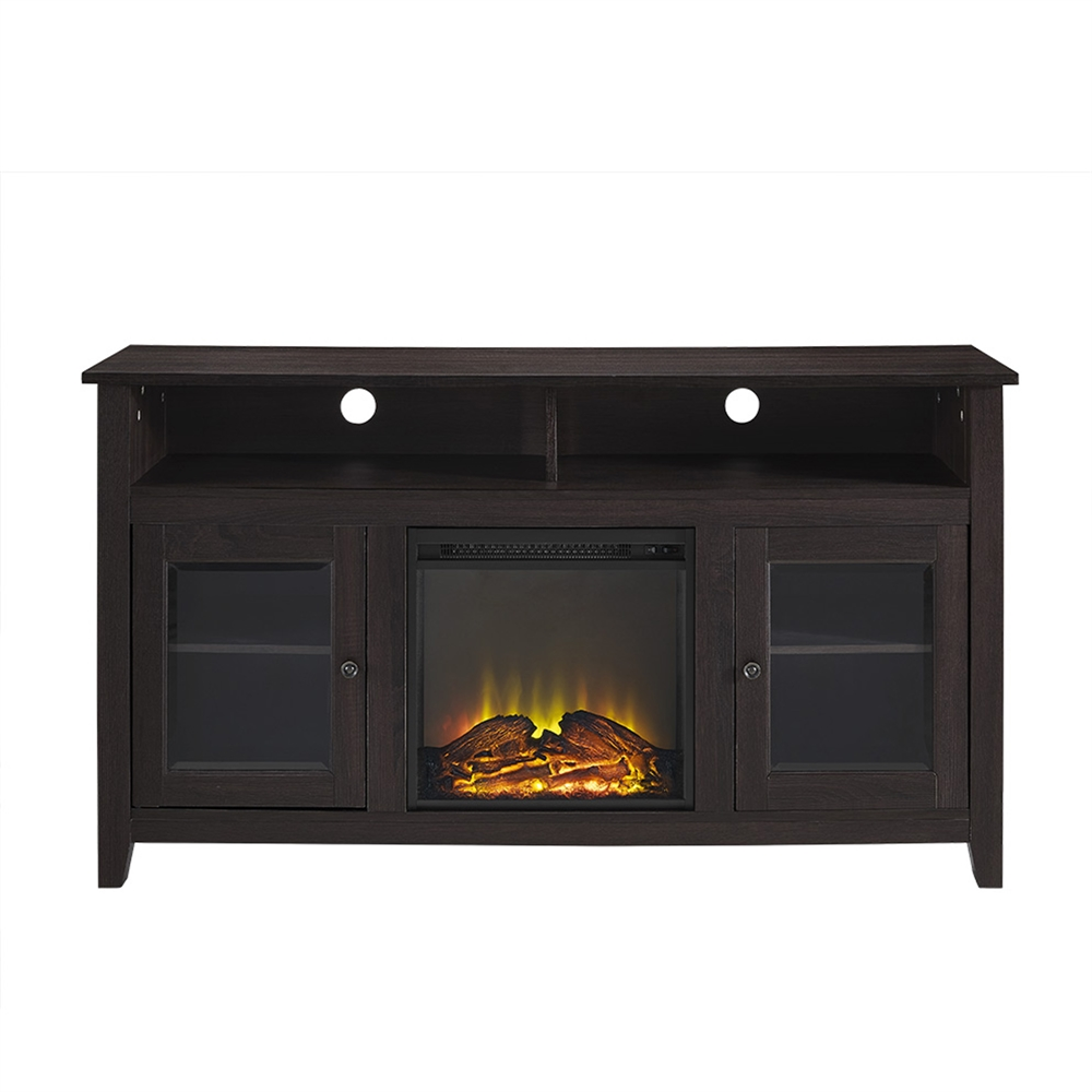 58 Quot Wood Highboy Fireplace Tv Stand Espresso
