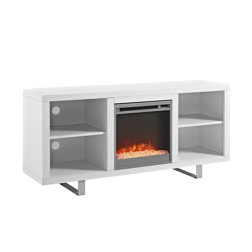 58 Quot Simple Modern Fireplace Tv Console White
