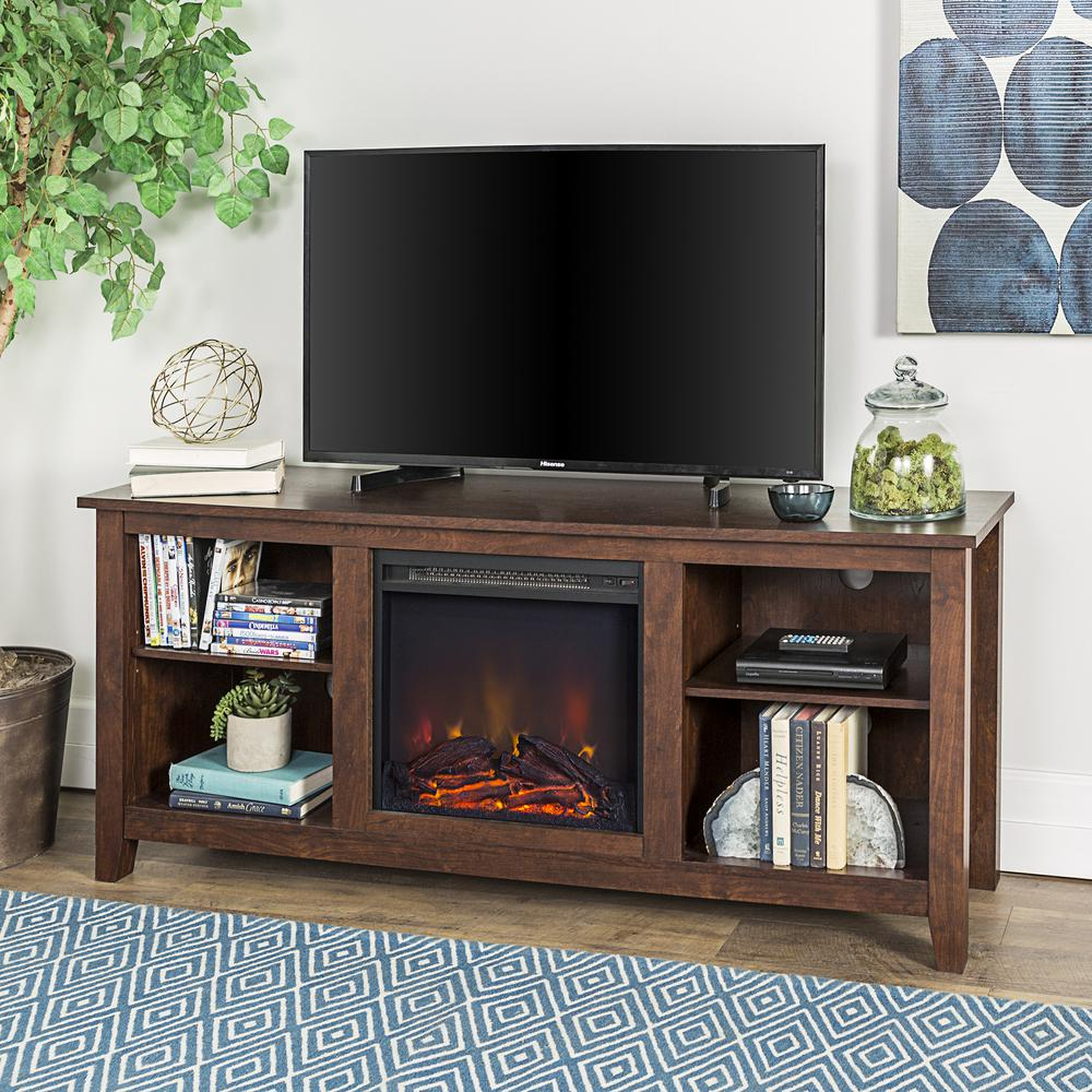 58 Quot Wood Tv Stand Console With Fireplace Brown
