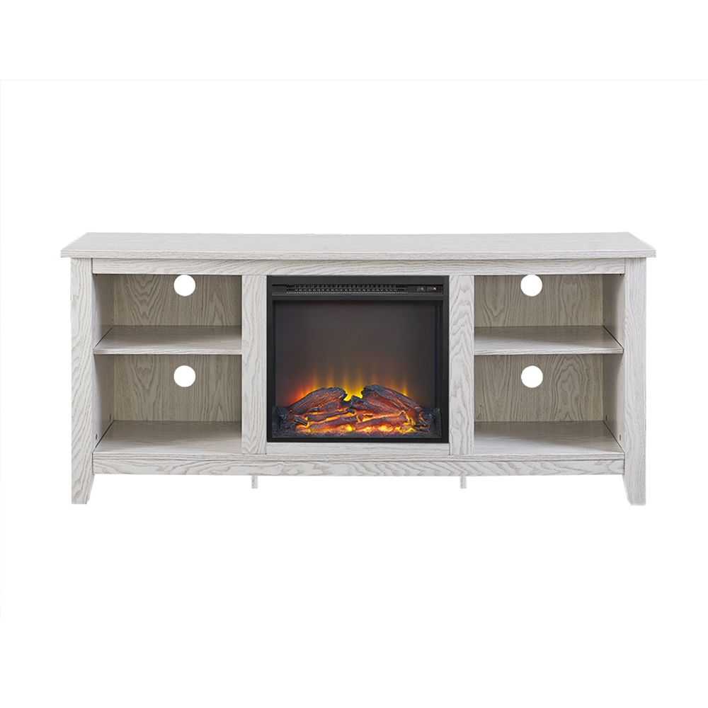 58 Quot White Wood Fireplace Tv Stand