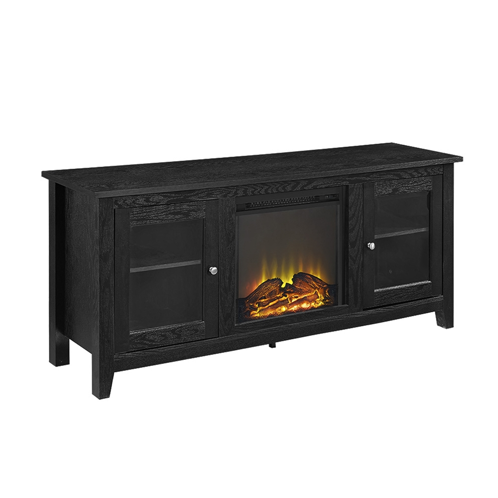 58 quot black wood fireplace tv stand with doors