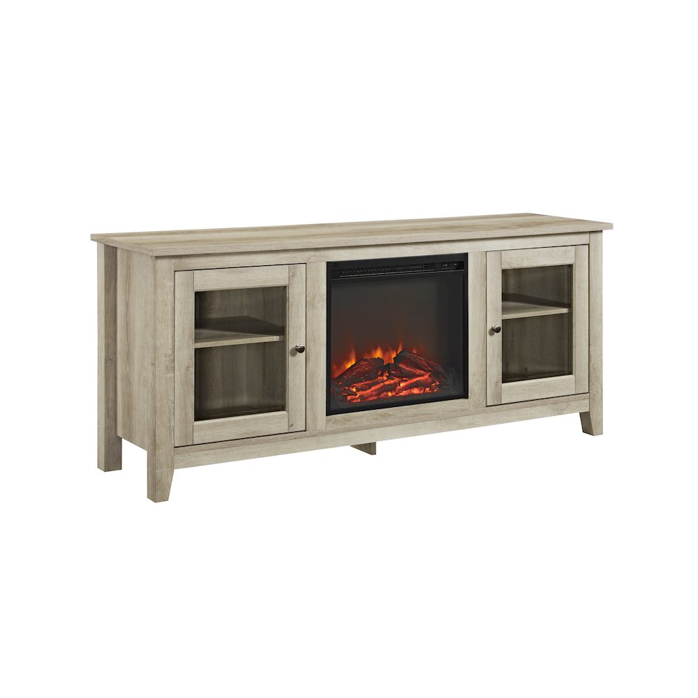 58 Wood Media Tv Stand Console With Fireplace White Oak