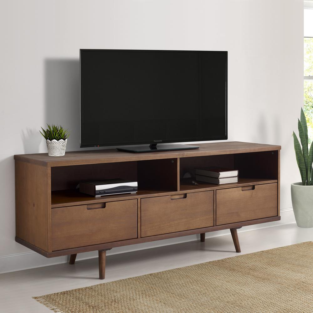 "58"" 3-Drawer Solid Wood TV Console - Walnut. Picture 2"
