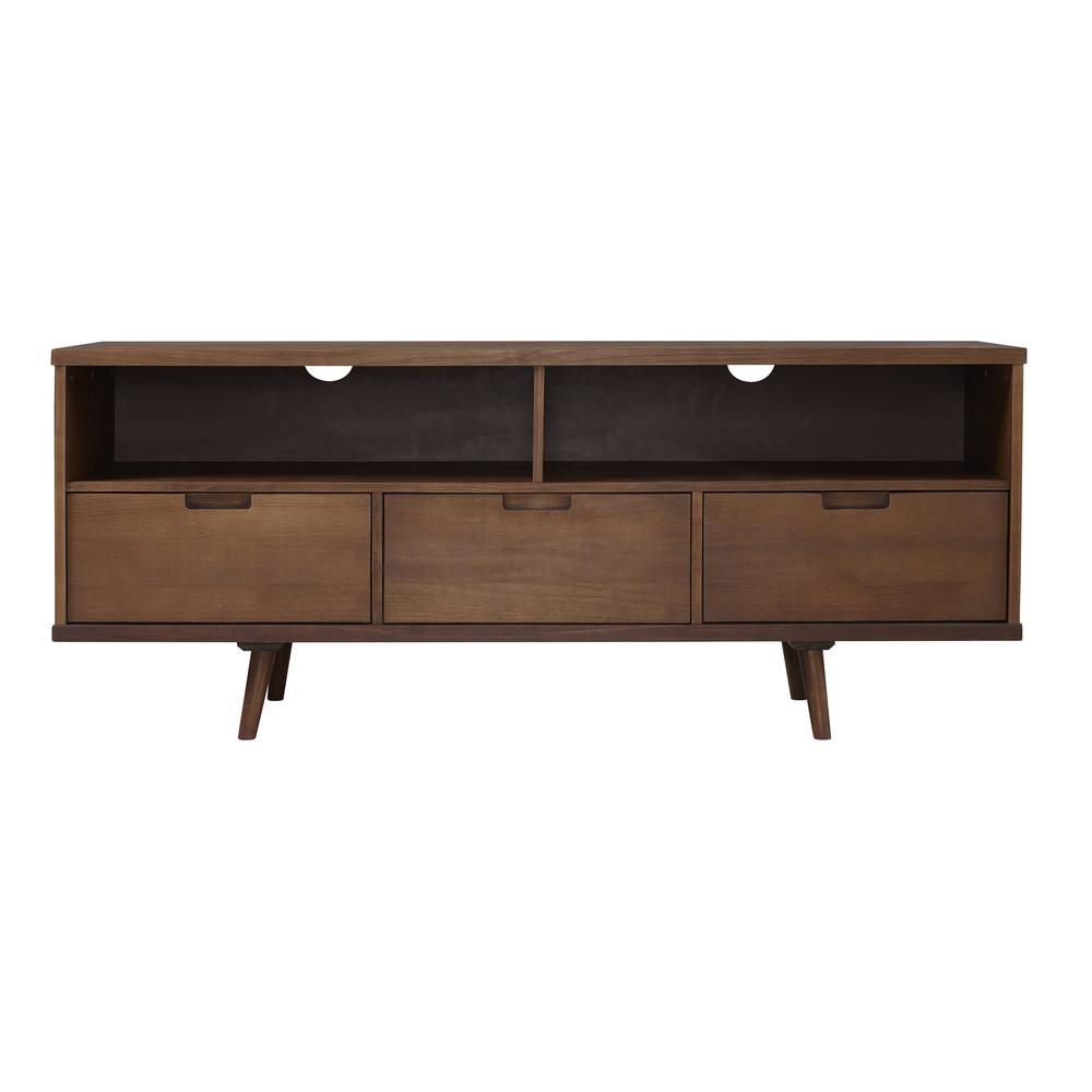 "58"" 3-Drawer Solid Wood TV Console - Walnut. Picture 1"