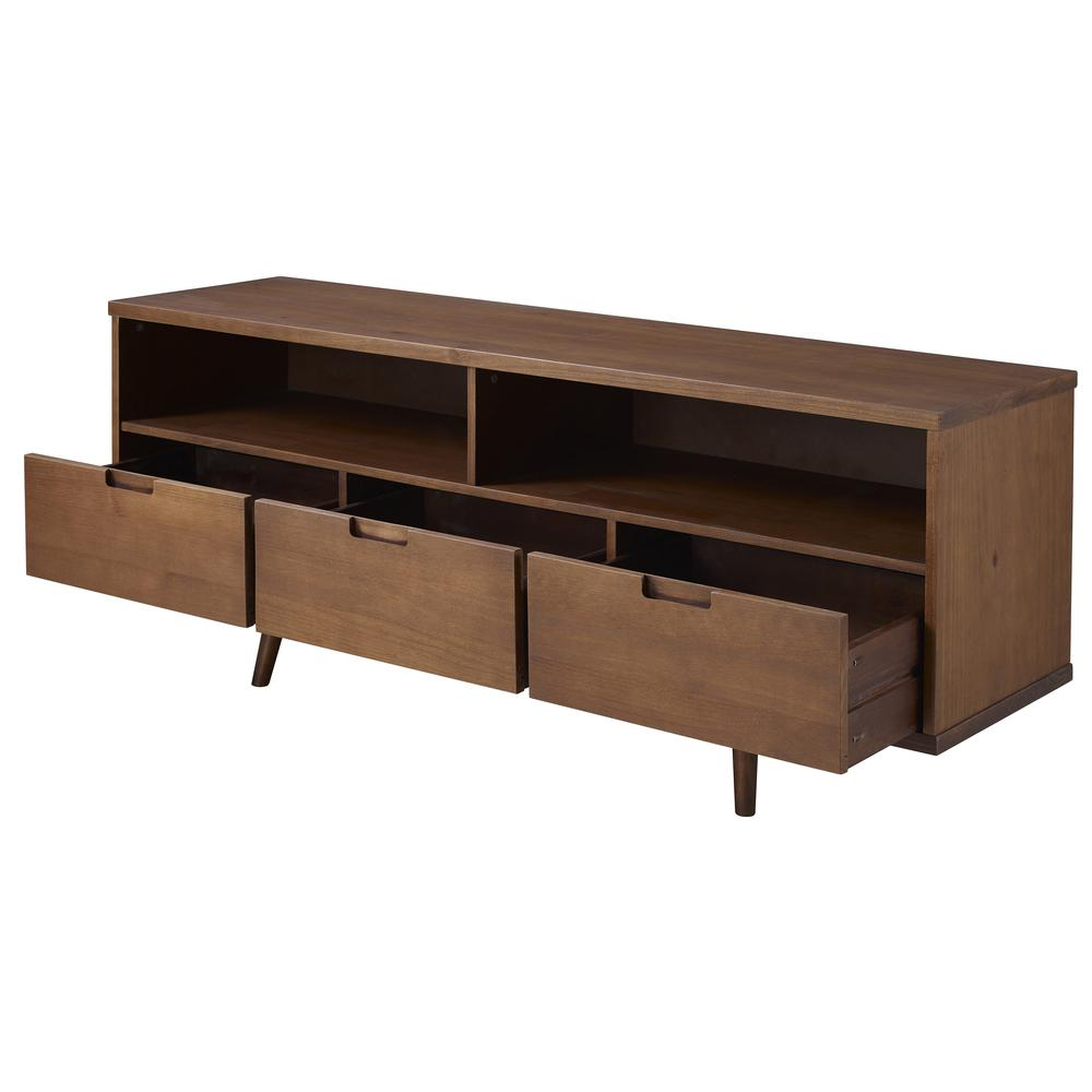 "58"" 3-Drawer Solid Wood TV Console - Walnut. Picture 3"