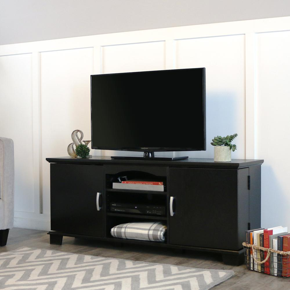 """60"""" Black Wood TV Stand Console. Picture 4"""