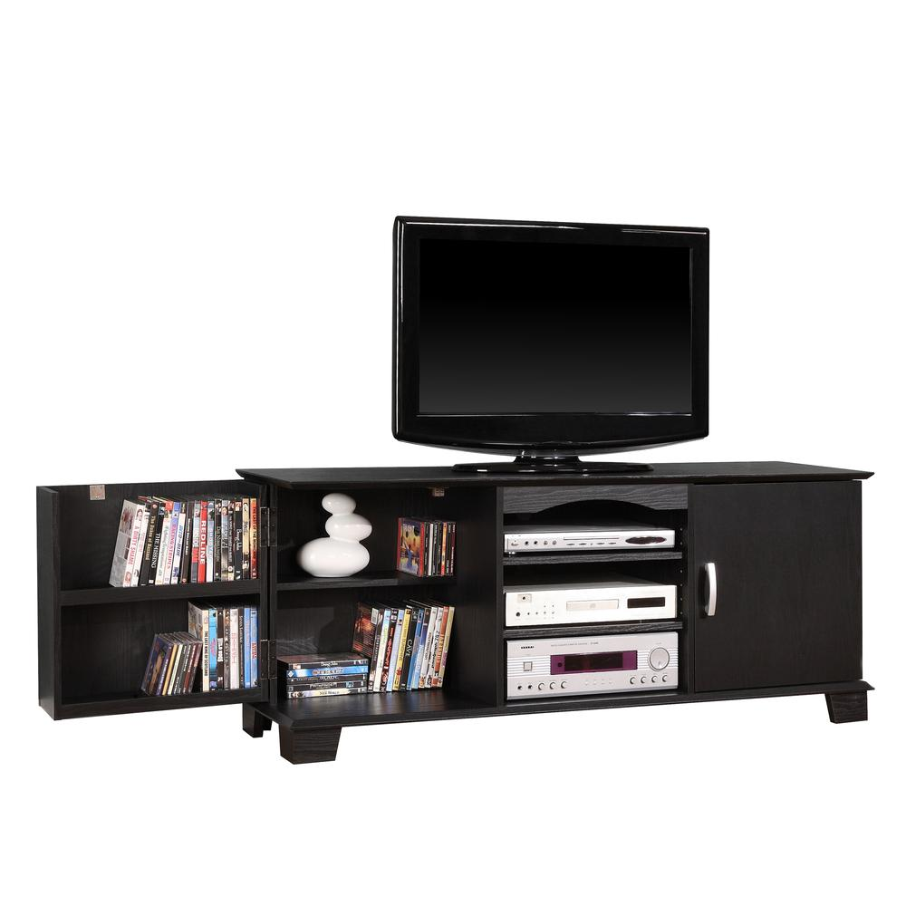 """60"""" Black Wood TV Stand Console. Picture 1"""